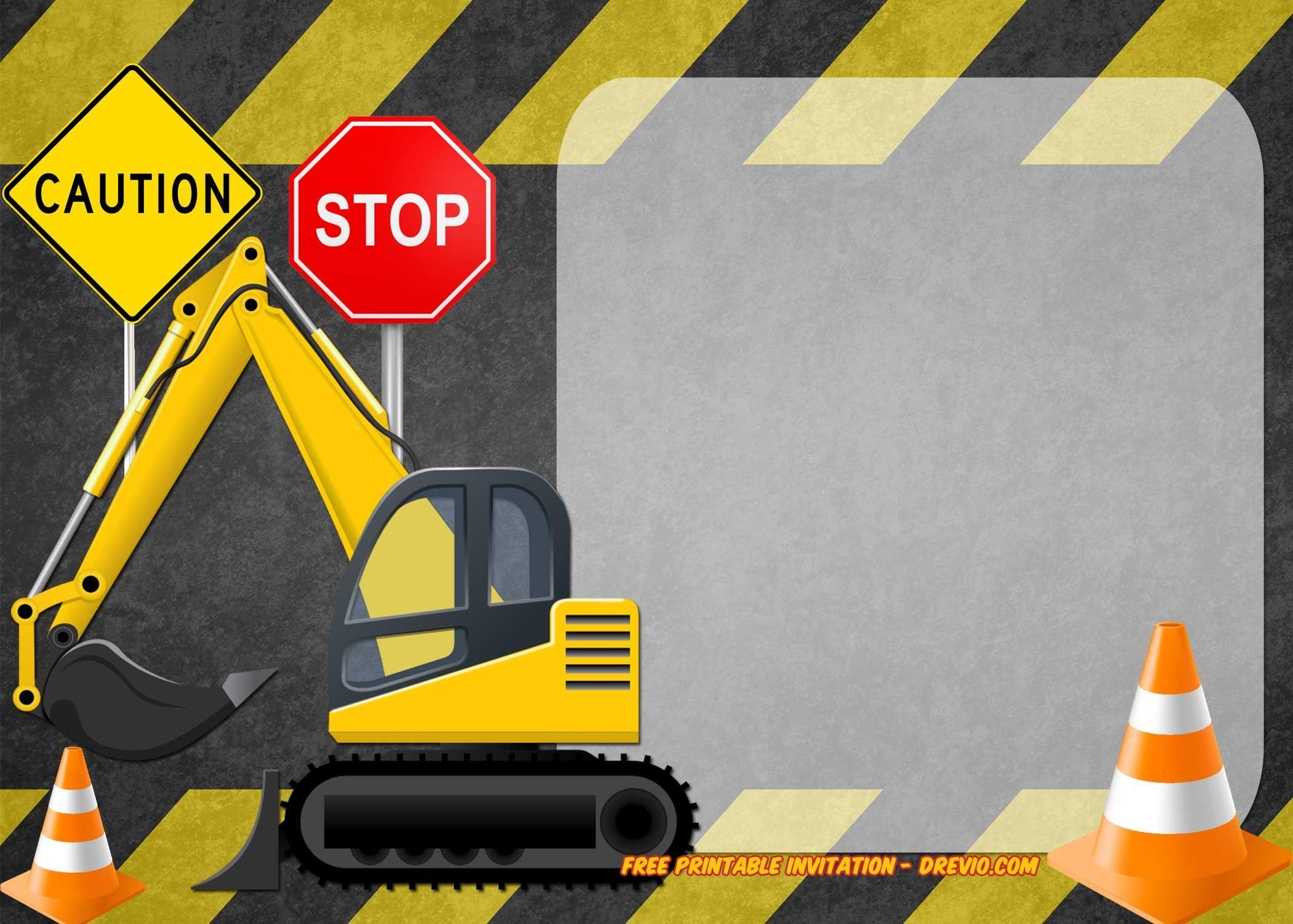Free Printable Construction Vehicles Birthday Invitation   Free - Free Printable Construction Invitations