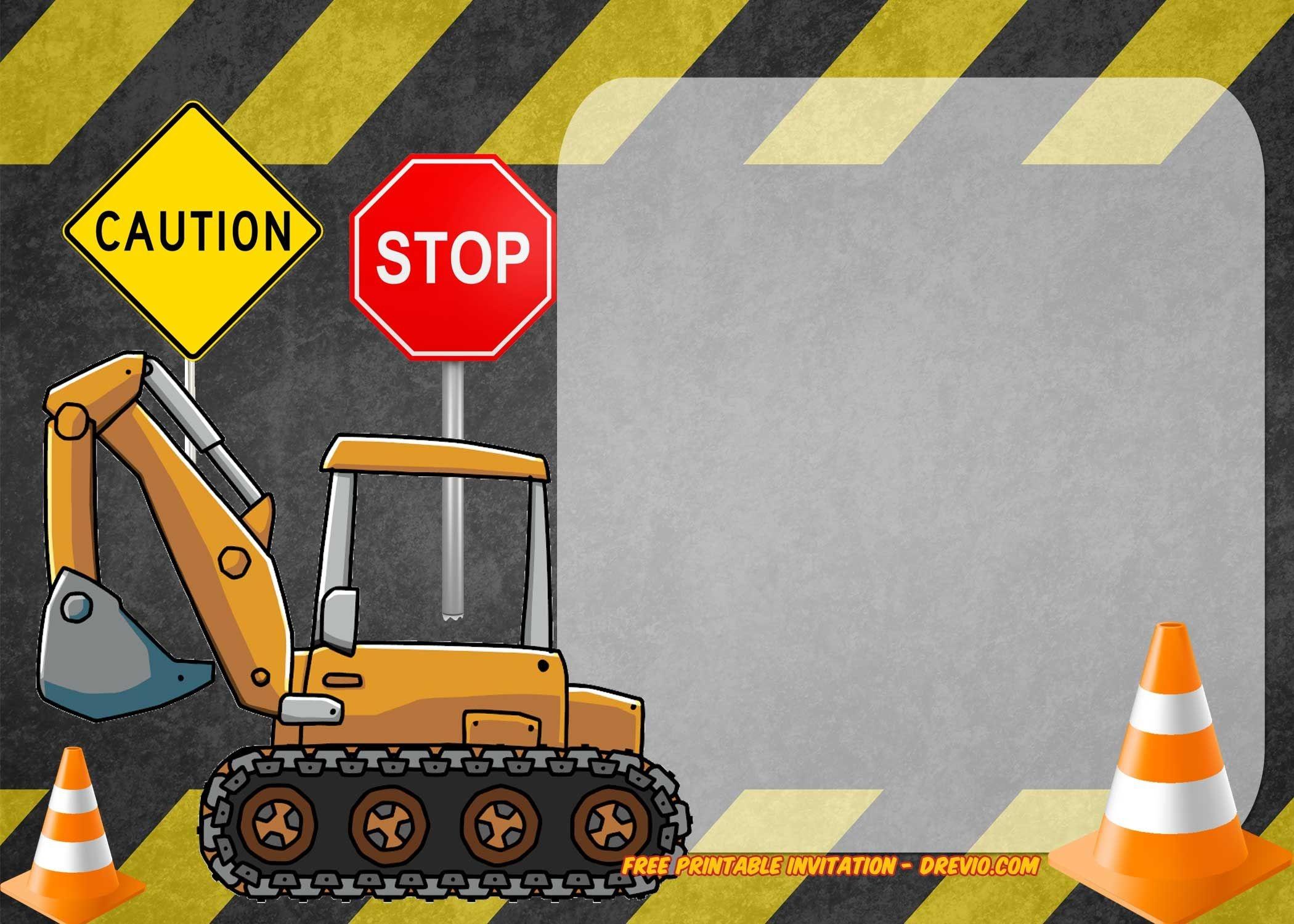 Free Printable Construction Vehicles Birthday Invitation | Free - Free Printable Construction Invitations