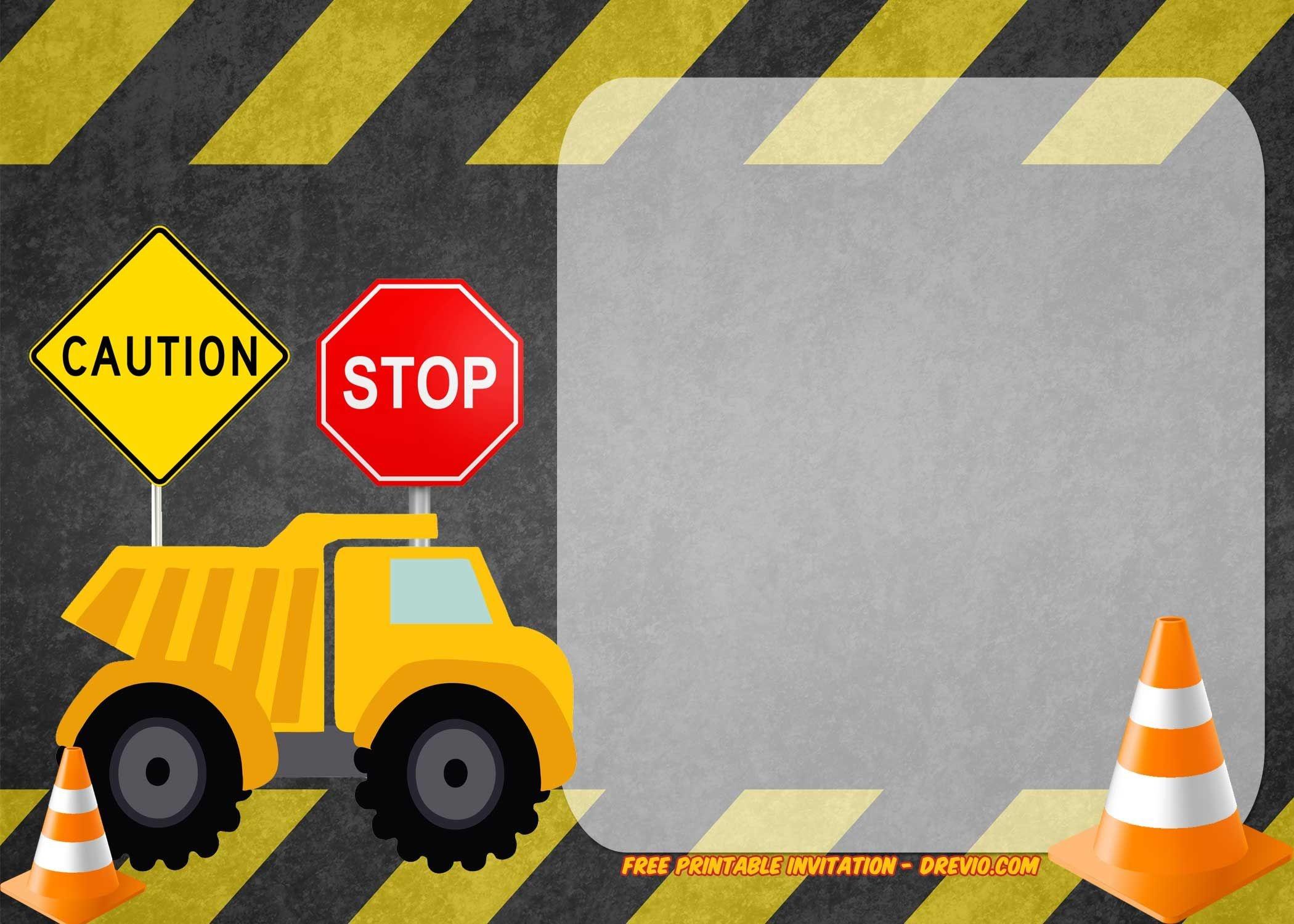 Free Printable Construction Vehicles Birthday Invitation | Party - Free Printable Construction Invitations