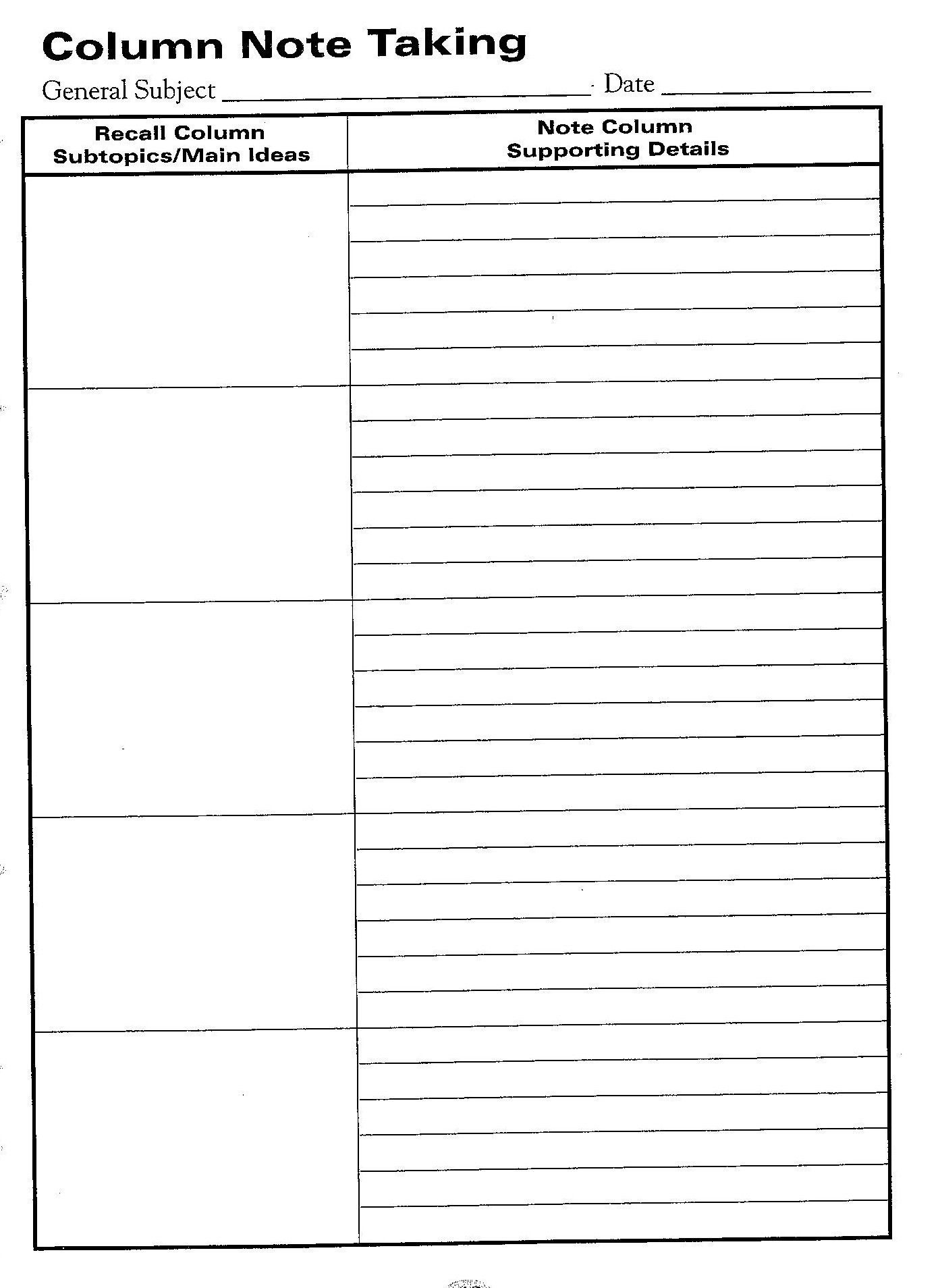 Free Printable Cornell Notes Graphic Organizer |  Comic Note - Free Printable Column Paper