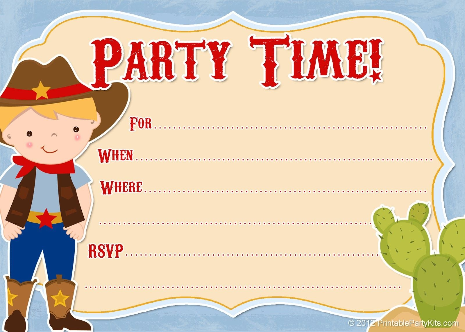 Free Printable Cowboy Party Invitations From - Free Printable Cowboy Birthday Cards