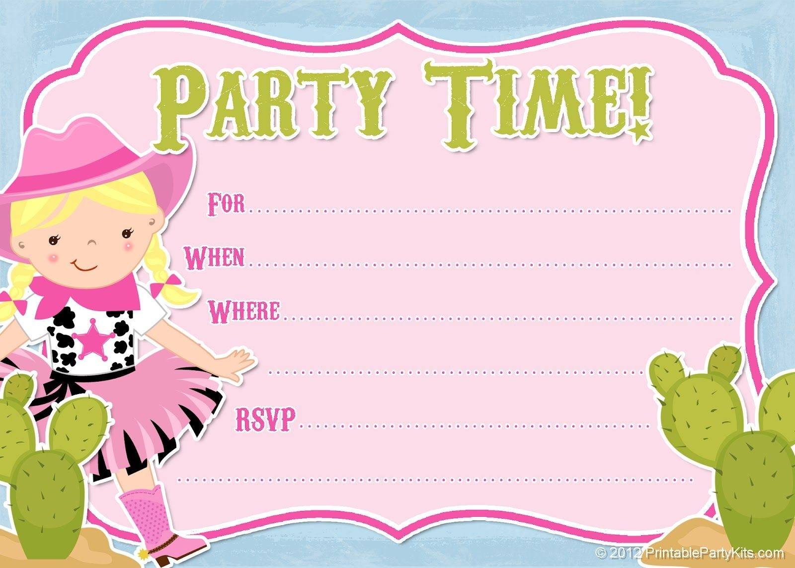 Free Printable Cowgirl #party Invitation From - Free Printable Cowboy Birthday Cards