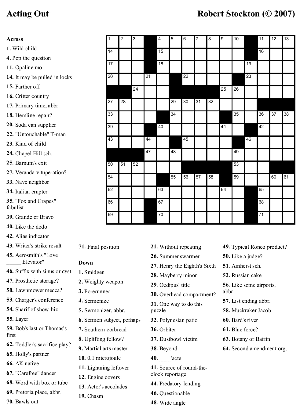 Free Printable Crossword Puzzles | Emergency Preparedness | Free - Printable Newspaper Crossword Puzzles For Free