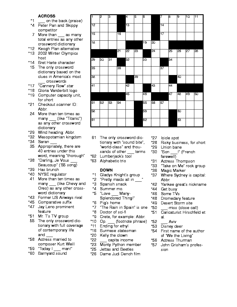 Free Printable Crossword Puzzles For Adults   Puzzles-Word Searches - Free Printable Crossword Puzzles For Adults