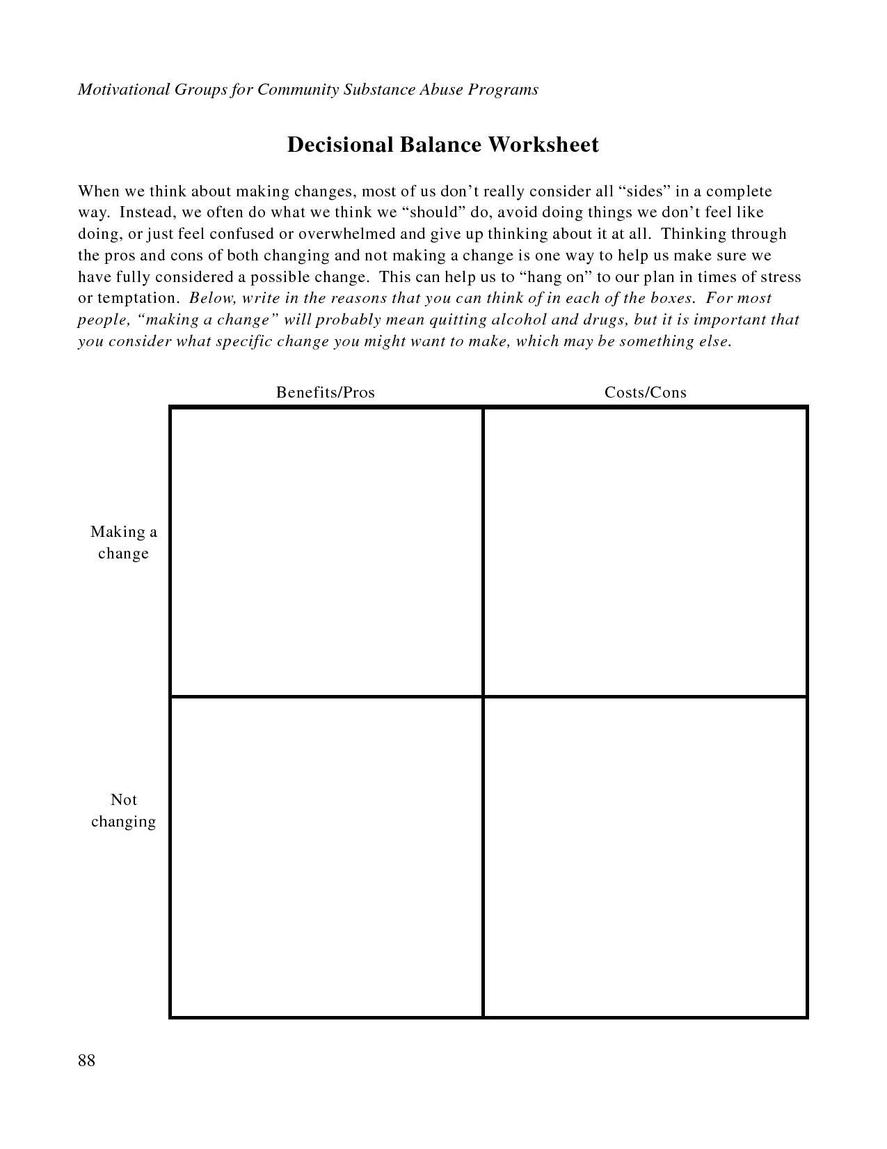 Free Printable Dbt Worksheets | Decisional Balance Worksheet - Pdf - Free Printable Worksheets On Depression