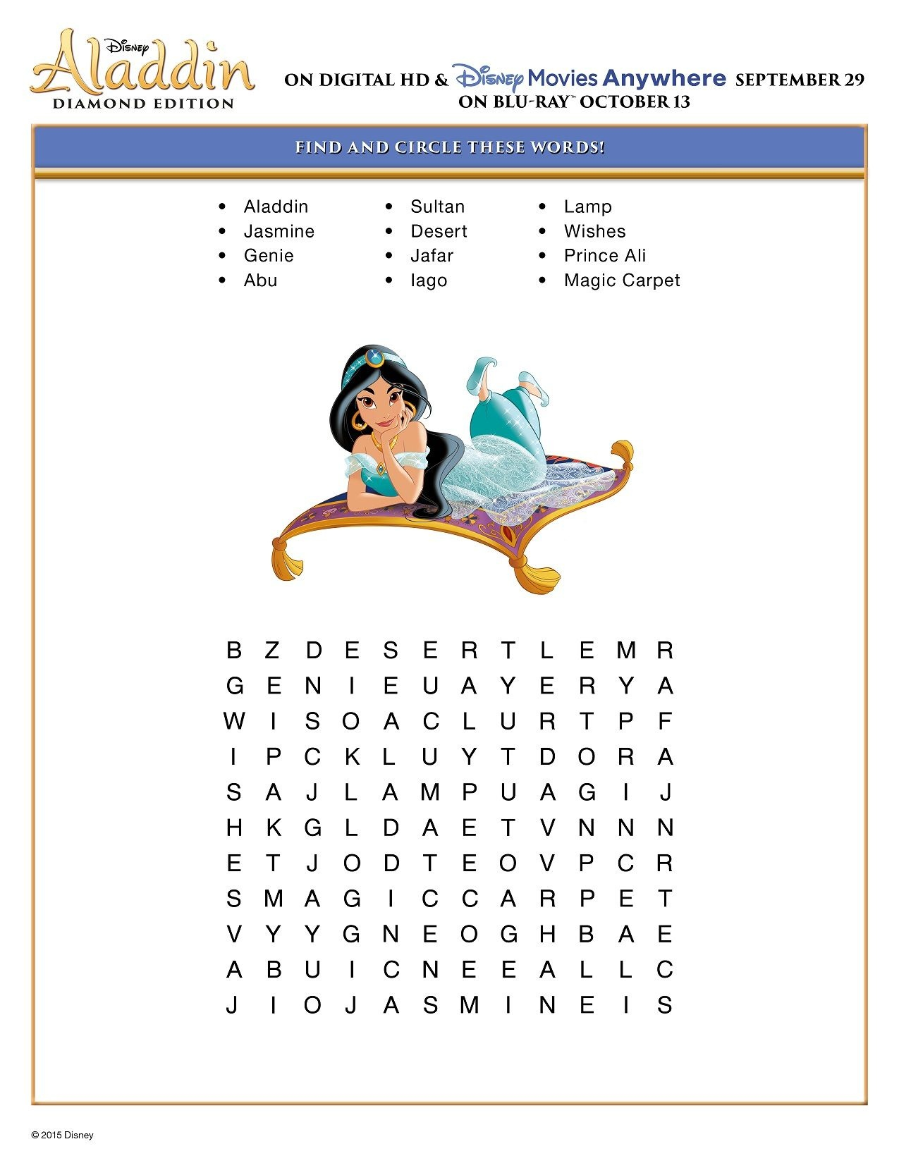 Free Printable Disney Aladdin Activity Sheets | Jasmine/aladdin - Free Printable Disney Stories