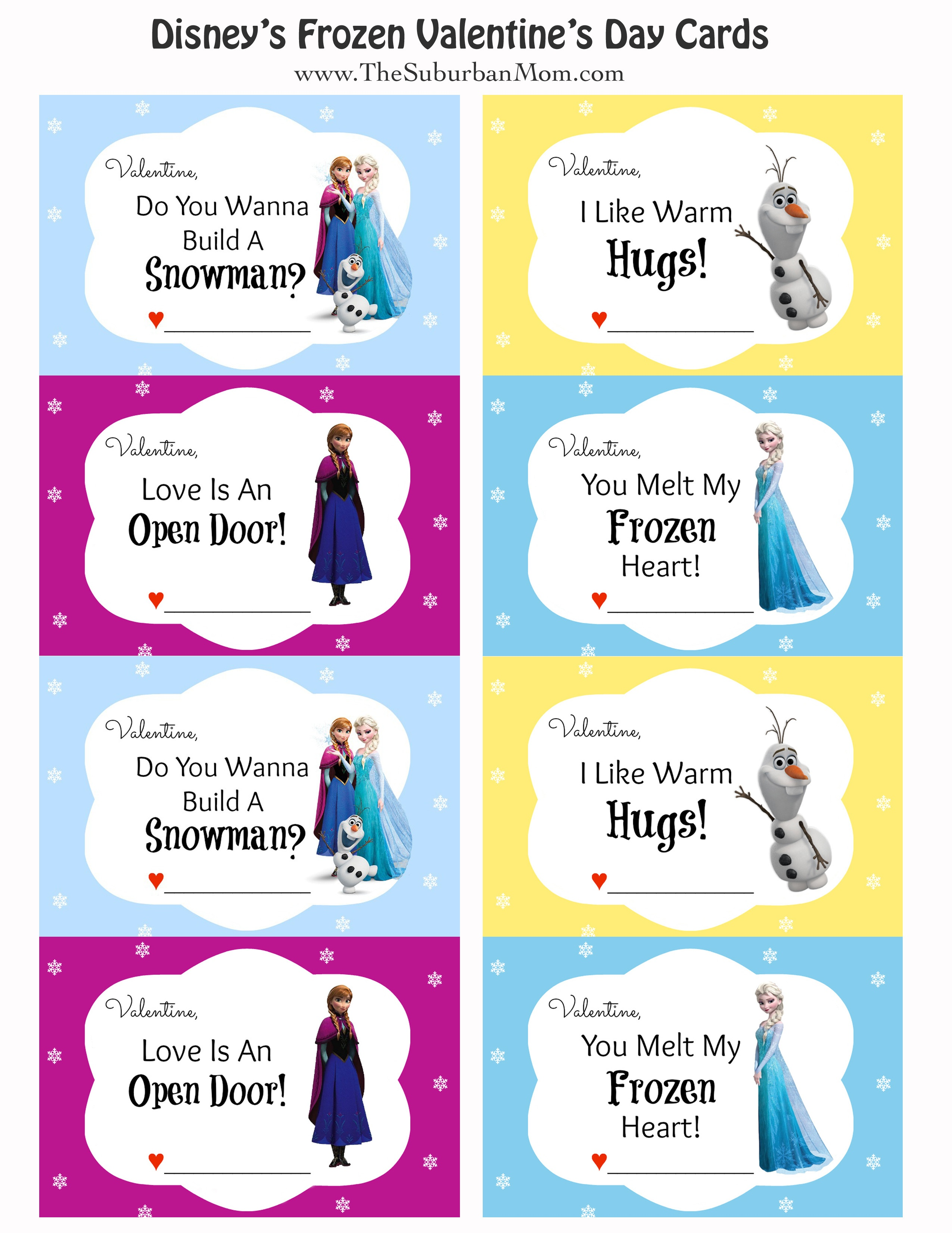 Free Printable Disney Frozen Valentine's Day Cards - Thesuburbanmom - Free Printable Valentines Day Cards For My Daughter
