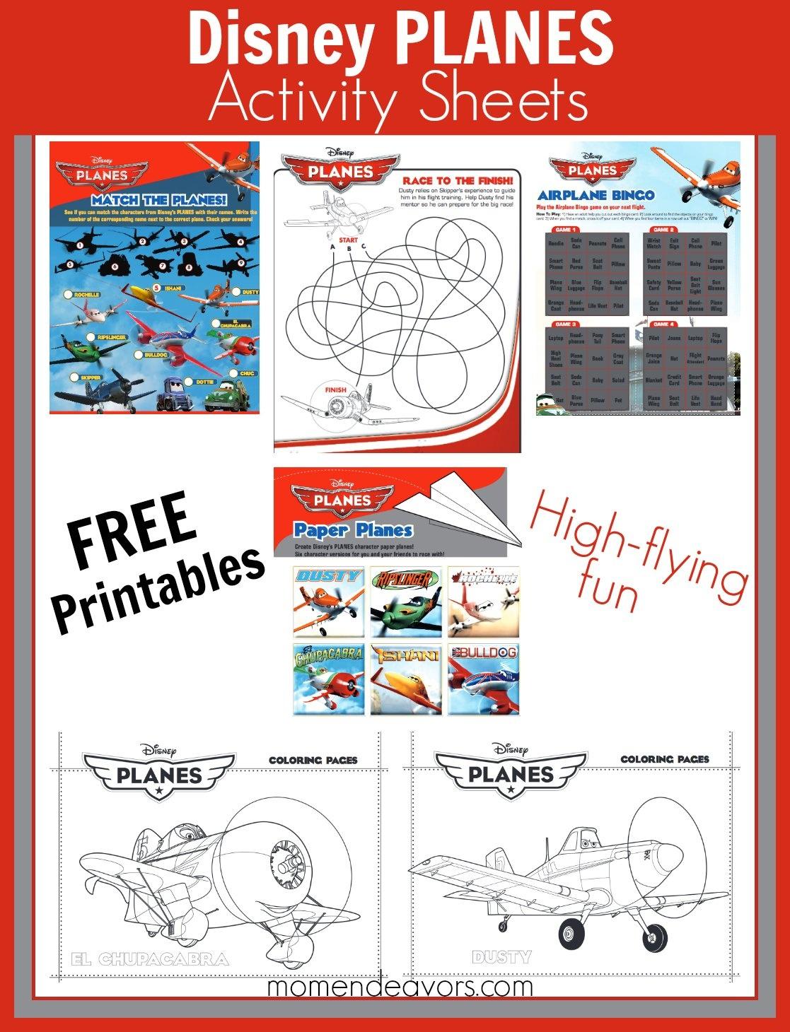 Free Printable Disney Planes Activities & Coloring Sheets - Free Disney Activity Printables
