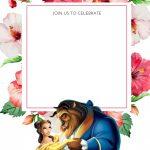 Free Printable Disney Princess Floral Invitation Template | Princesa   Free Printable Disney Invitations
