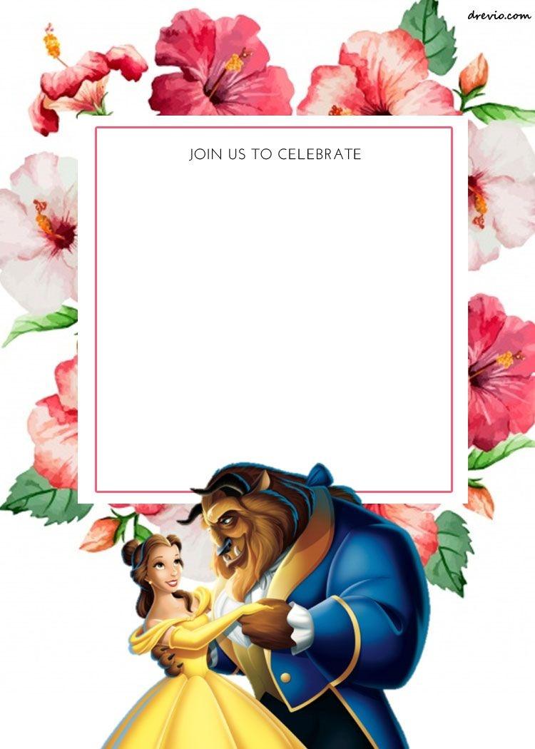 Free Printable Disney Princess Floral Invitation Template | Princesa - Free Printable Disney Invitations