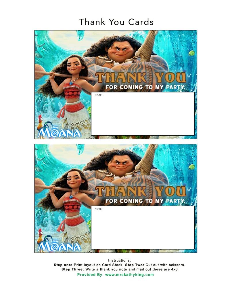 Free Printable Disney's Moana Birthday Party Decorations #moana - Free Printable Moana Birthday Cards