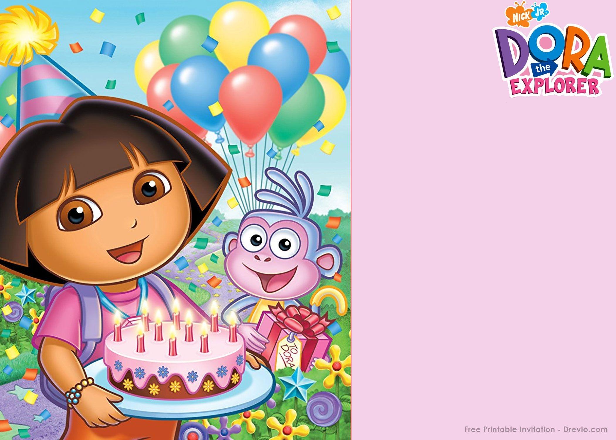Free Printable Dora The Explorer Party Invitation | Birthday - Free Dora Party Printables