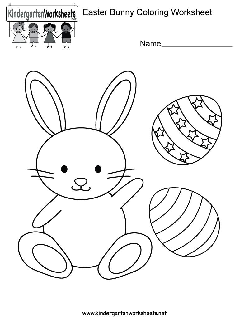 Free Printable Easter Bunny Coloring Worksheet For Kindergarten - Free Printable Easter Worksheets