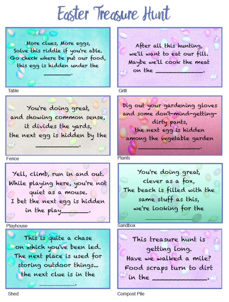 Free Printable Easter Treasure Hunt: 24 Mix & Match Clue Plus Blanks - Free Printable Easter Egg Hunt Riddles