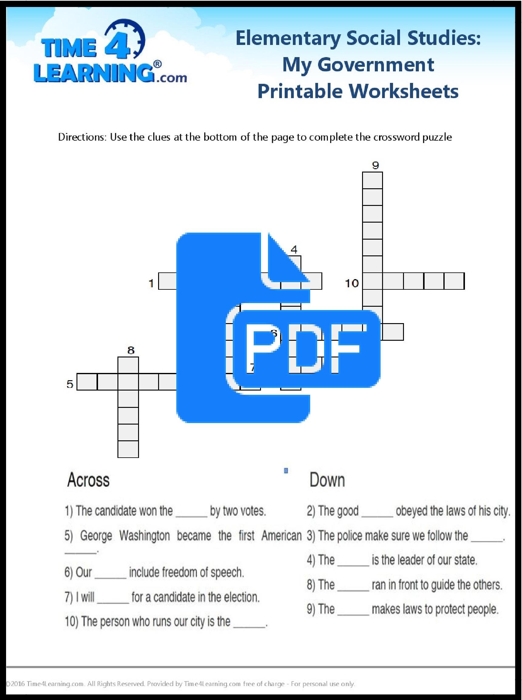 Free Printable: Elementary Social Studies Worksheet | Time4Learning - Free Printable Social Studies Worksheets For 8Th Grade