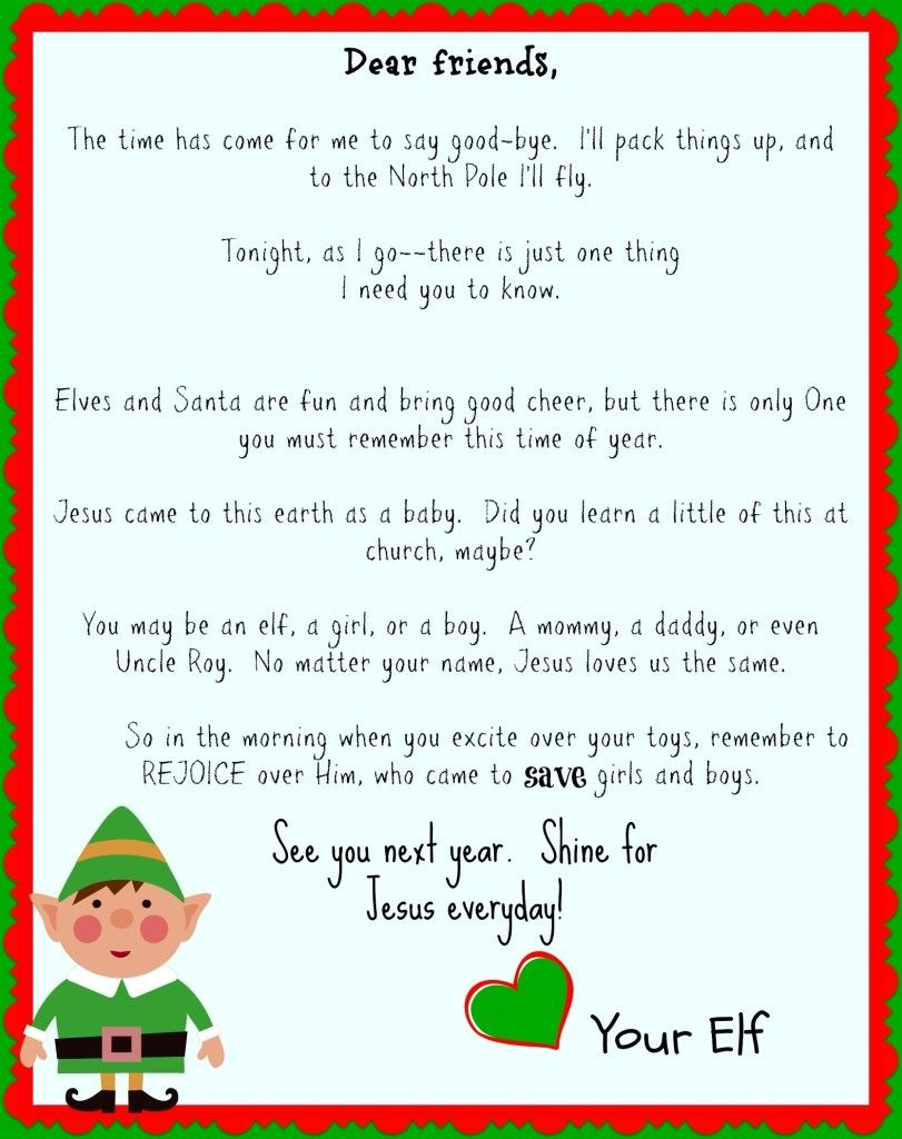 Free Printable Elf On The Shelf Goodbye Letter {Jesus Focused}   The - Free Printable Elf On The Shelf Story