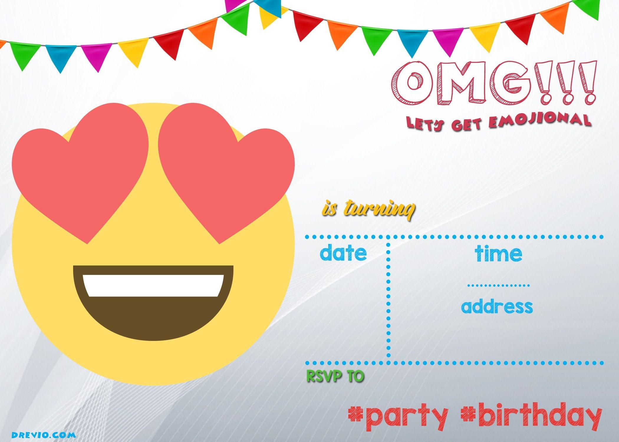 Free Printable Emoji Invitation | Free Printable Birthday - Free Emoji Party Printables