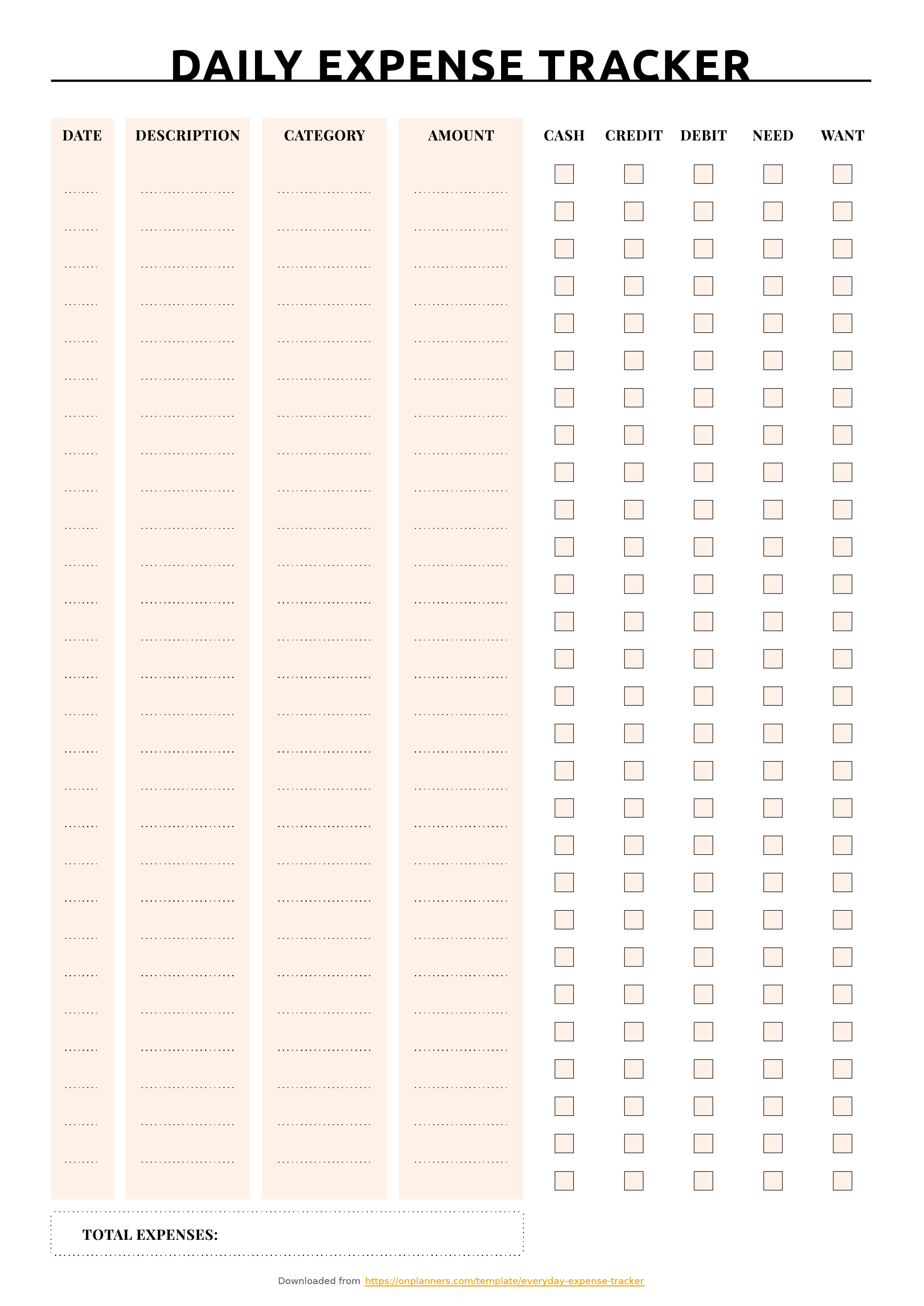 Free Printable Everyday Expense Tracker Pdf Download - Free Printable Daily Expense Tracker