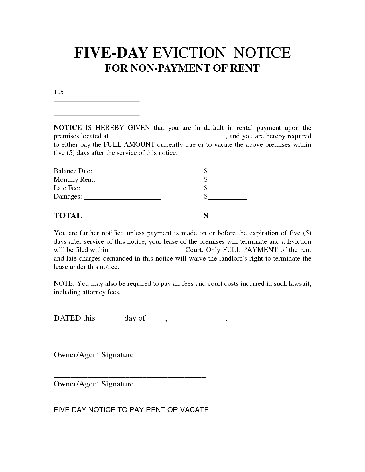 Free Printable Eviction Notice Letter | Bagnas - 5 Day Eviction - Free Printable 3 Day Eviction Notice