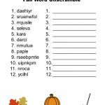 Free Printable   Fall Word Unscramble | Games For Senior Adults   Free Printable Word Scramble Worksheets
