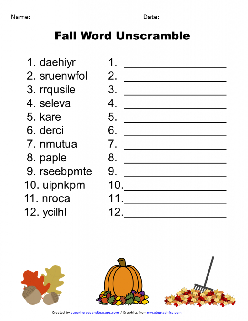Free Printable - Fall Word Unscramble | Games For Senior Adults - Free Printable Word Scramble Worksheets