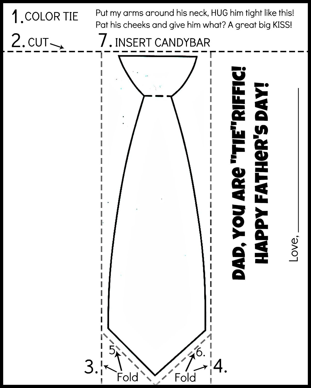 Free Printable Father's Day Tie Coloring Page. Color, Cut, Fold - Free Printable Tie