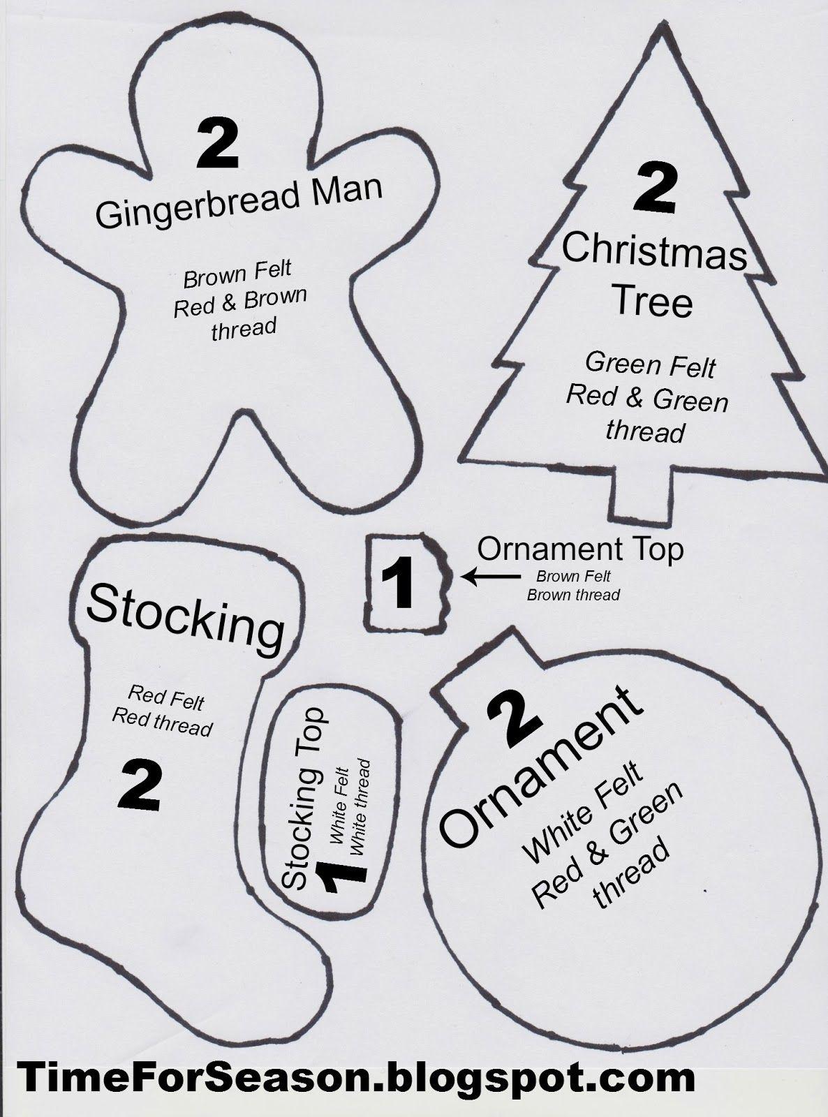 Free Printable Felt Christmas Ornament Patterns | Holidays - Free Printable Felt Patterns