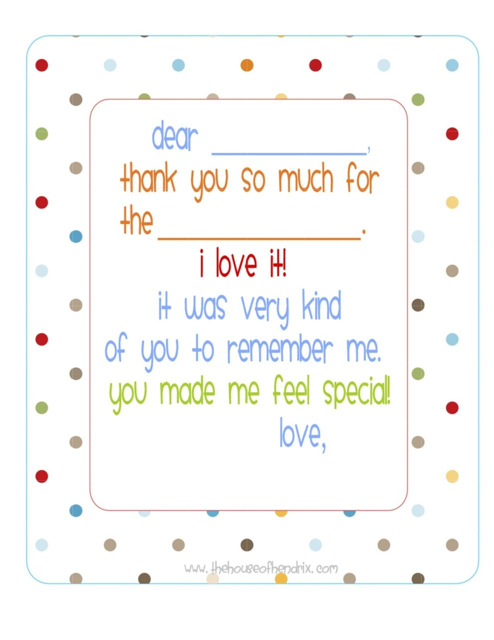 Free} Printable Fill In The Blank Thank You Note (Polka Dots) | Misc - Free Printable Thank You Notes