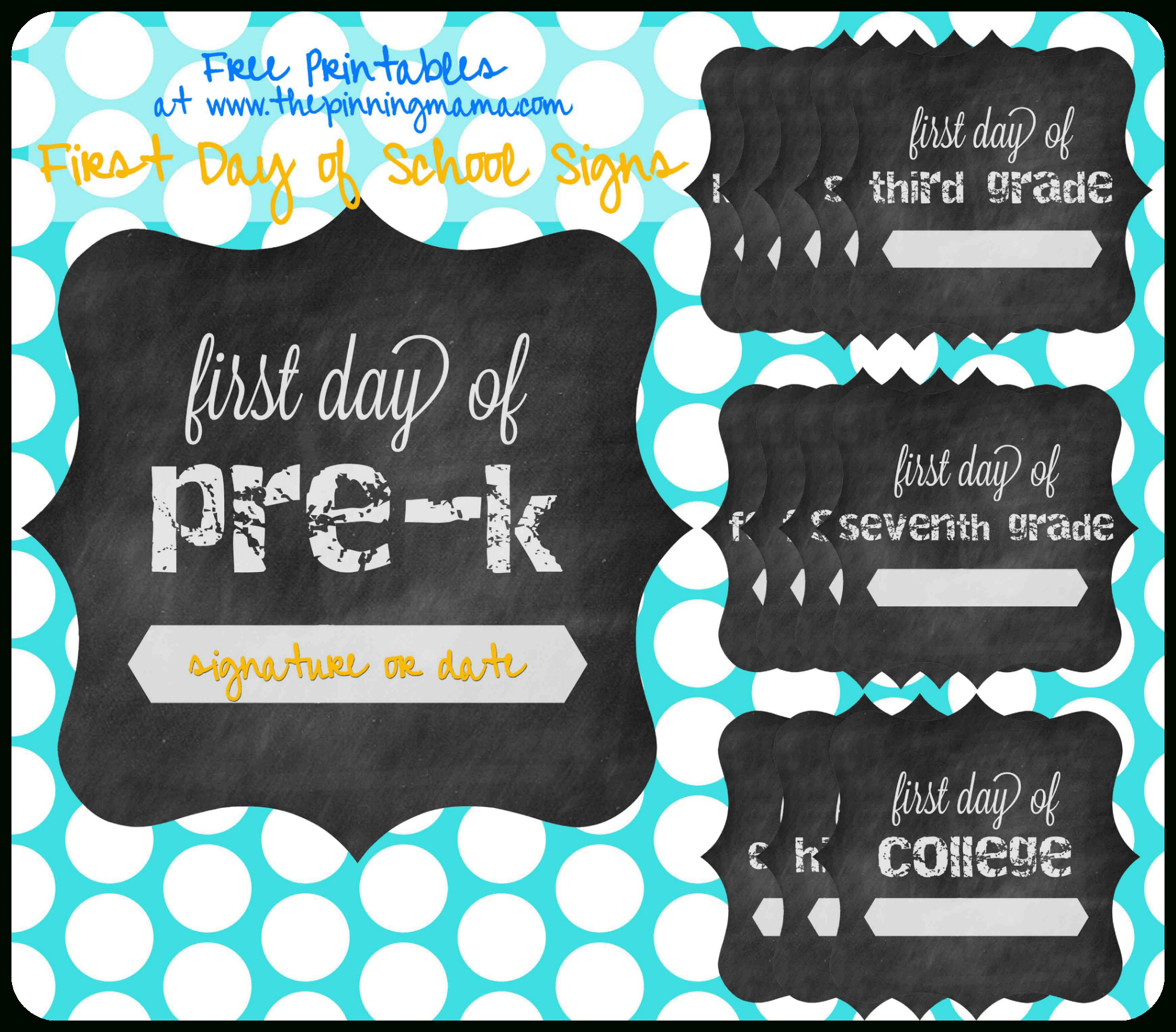 Free Printable} First Day Of School Chalkboard Sign • The Pinning Mama - First Day Of Kindergarten Sign Free Printable