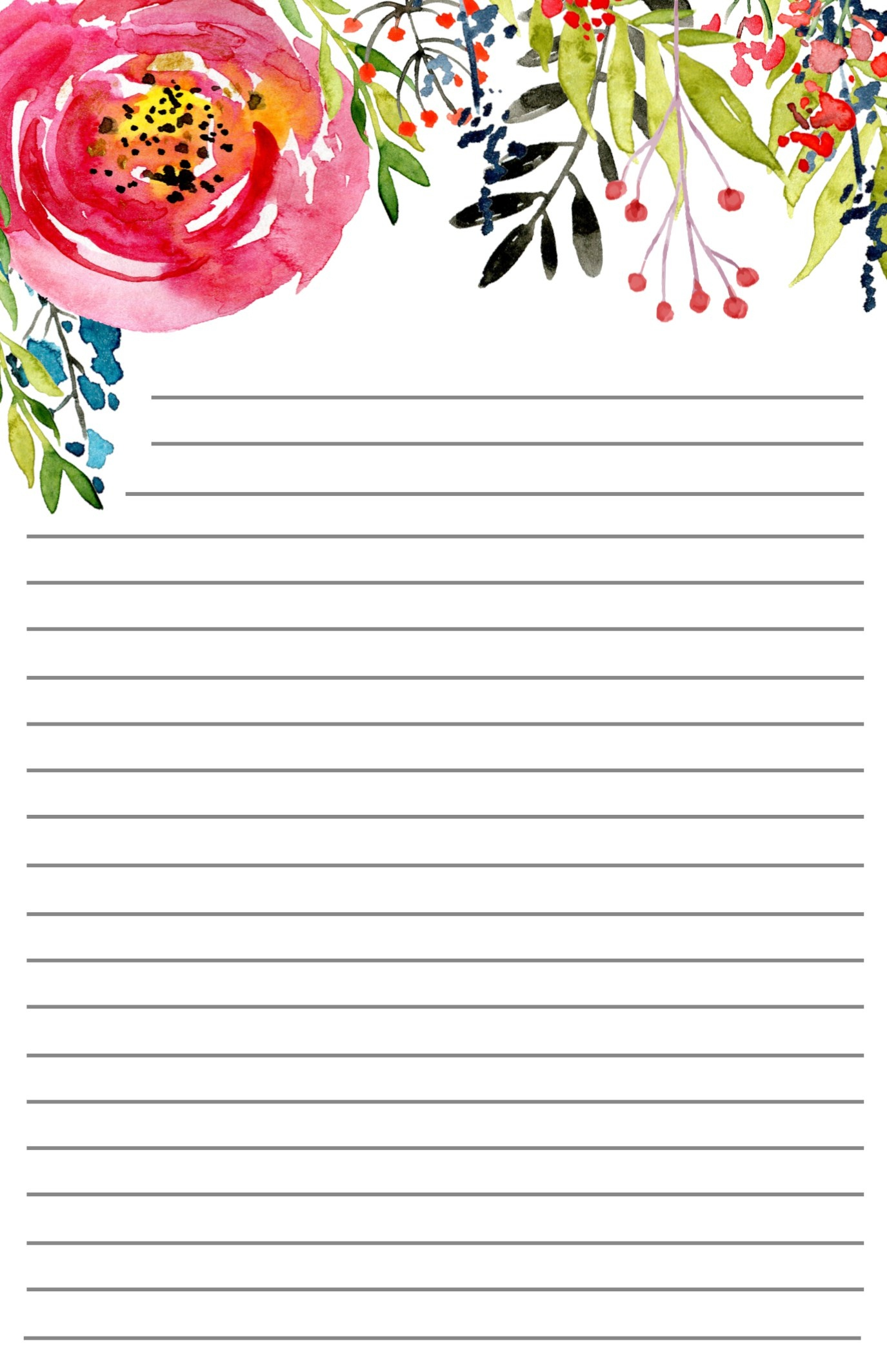 Free Printable Floral Stationery - Paper Trail Design - Free Printable Lined Stationery