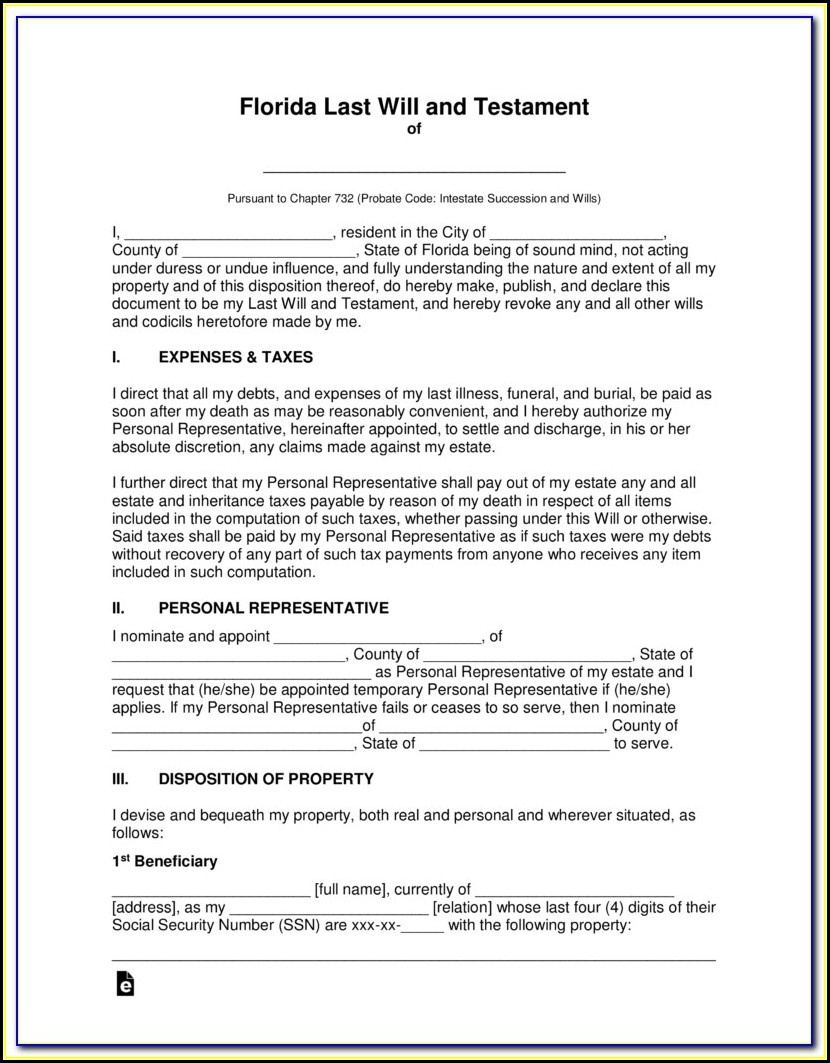 Free Printable Florida Last Will And Testament Form - Form : Resume - Free Printable Florida Will