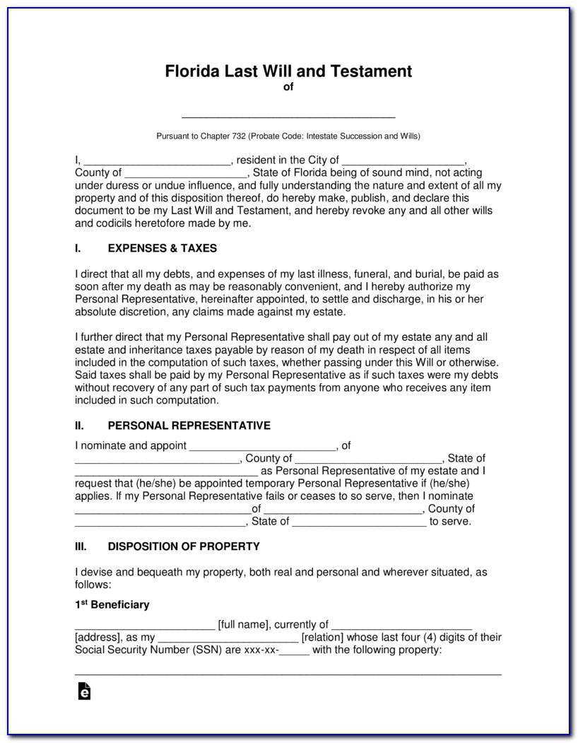 Free Printable Florida Last Will And Testament Form - Form : Resume - Free Printable Last Will And Testament Blank Forms Florida