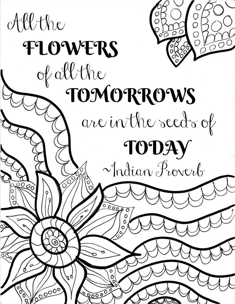 Free Printable Flower Quote Coloring Pages | Color Me Quotes | Quote - Free Printable Quotes Coloring Pages