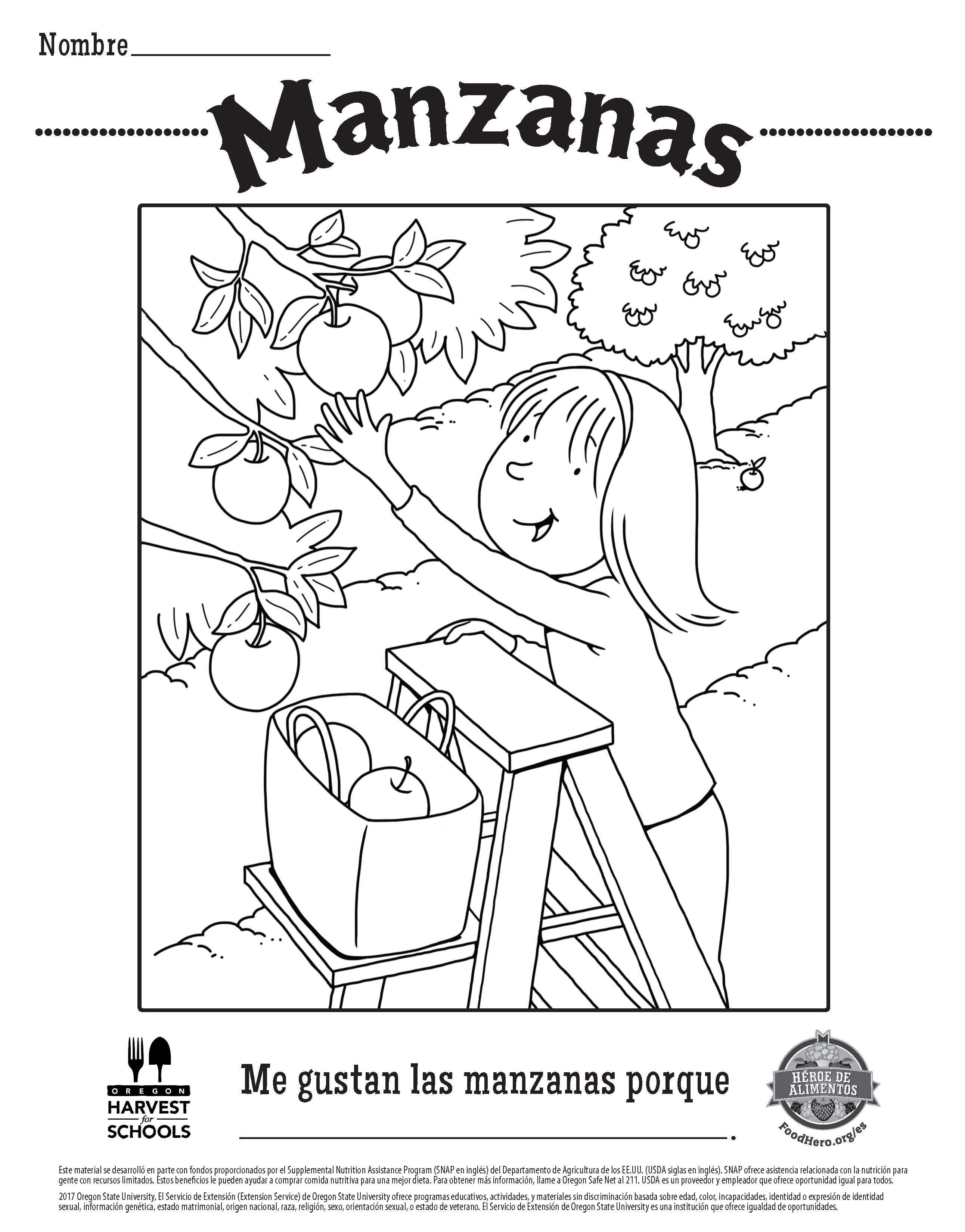Free Printable Food Hero Apple Coloring Sheet In Spanish - Free Coloring Printables