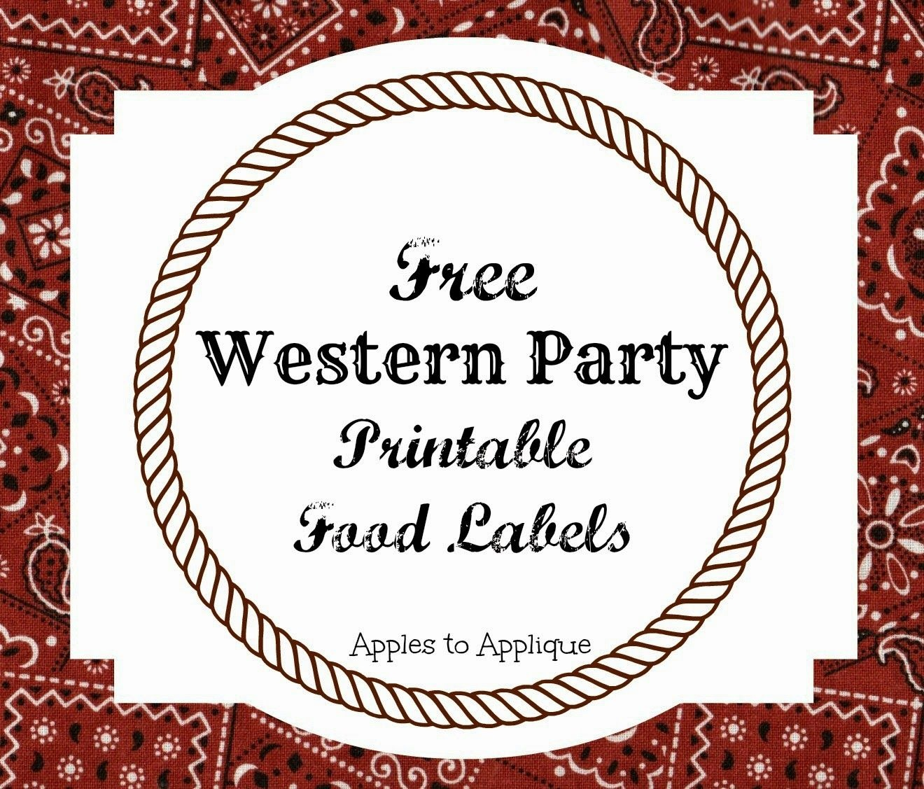 Free Printable Food Labels For Western-Themed Party   Apples To - Free Printable Western Labels