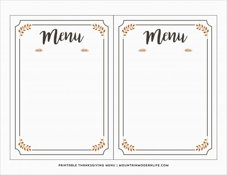 Free Printable Menu Templates Word