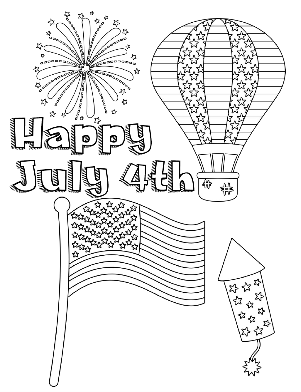 Free Printable Fourth Of July Coloring Pages: 4 Designs - Free Printable 4Th Of July Coloring Pages