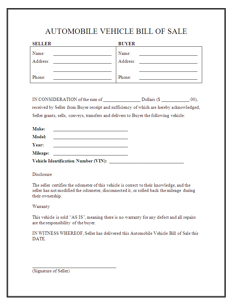 Free Printable Free Car Bill Of Sale Template Form (Generic) - Free Printable Vehicle Bill Of Sale