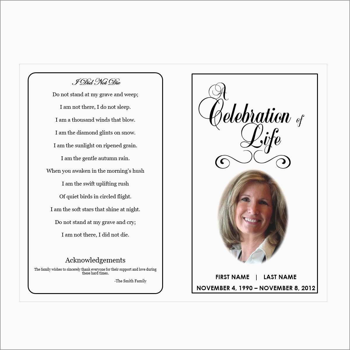 Free Printable Funeral Prayer Card Template Prettier Free Printable - Free Printable Memorial Card Template