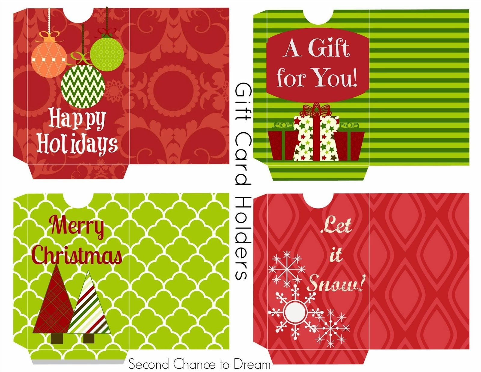 Free Printable Gift Tags & Gift Card Holders | Christmas Printables - Free Printable Christmas Gift Cards