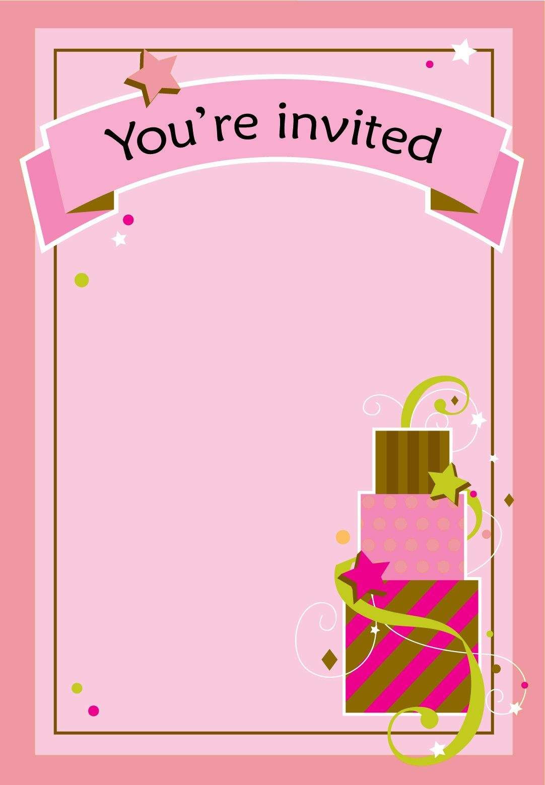 Free Printable Girl Fun Birthday Invitation | Cake & Cupcakes | Free - Free Printable Girl Birthday Party Invitations
