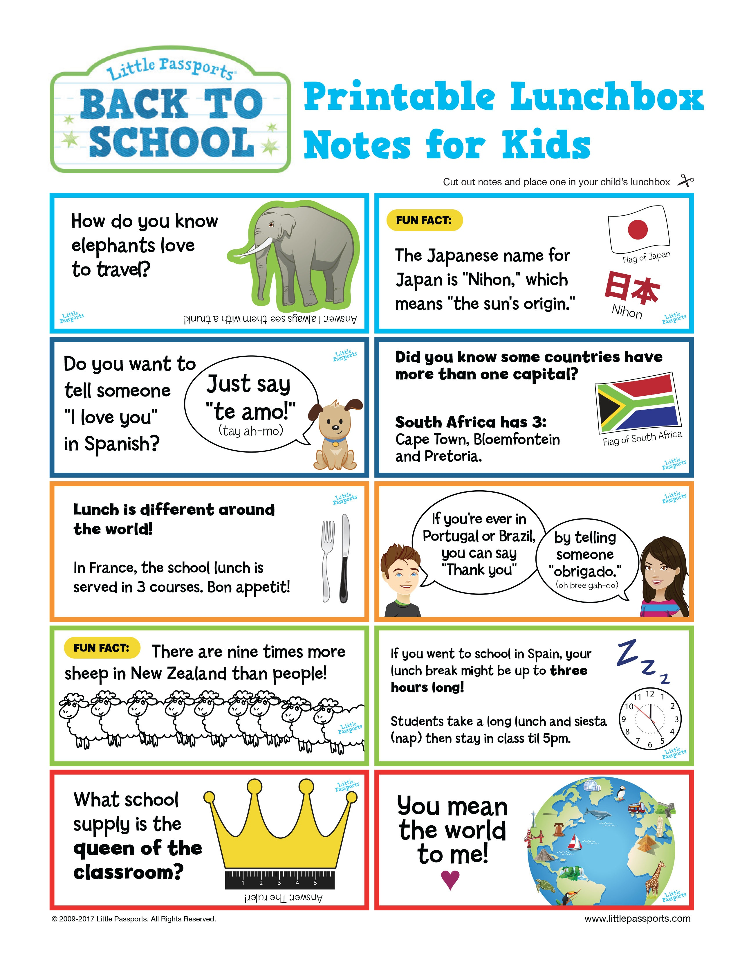 Free Printable! Global Lunchbox Notes - Little Passports - Free Printable School Notes
