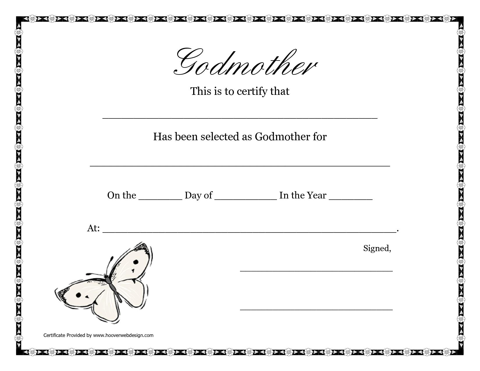Free Printable Godparent Certificates | Printable Godmother - Free Baby Dedication Certificate Printable