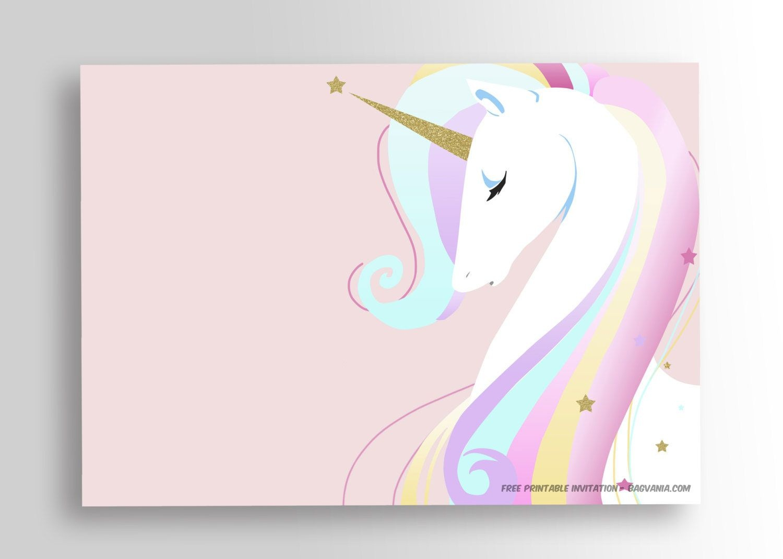 Free Printable Golden Unicorn Birthday Invitation Template | Party - Free Printable Unicorn Face Template