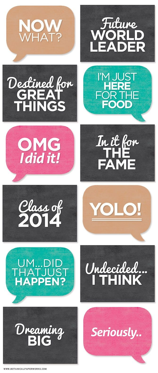 Free Printable} Grad Photo Booth Signs | Afscheid 6E - Graduation - Free Printable Signs