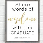 Free Printable Graduation Sign With The Purchase Of Words Of Wisdom   Cards Sign Free Printable