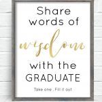 Free Printable Graduation Sign With The Purchase Of Words Of Wisdom   Free Printable Graduation Advice Cards