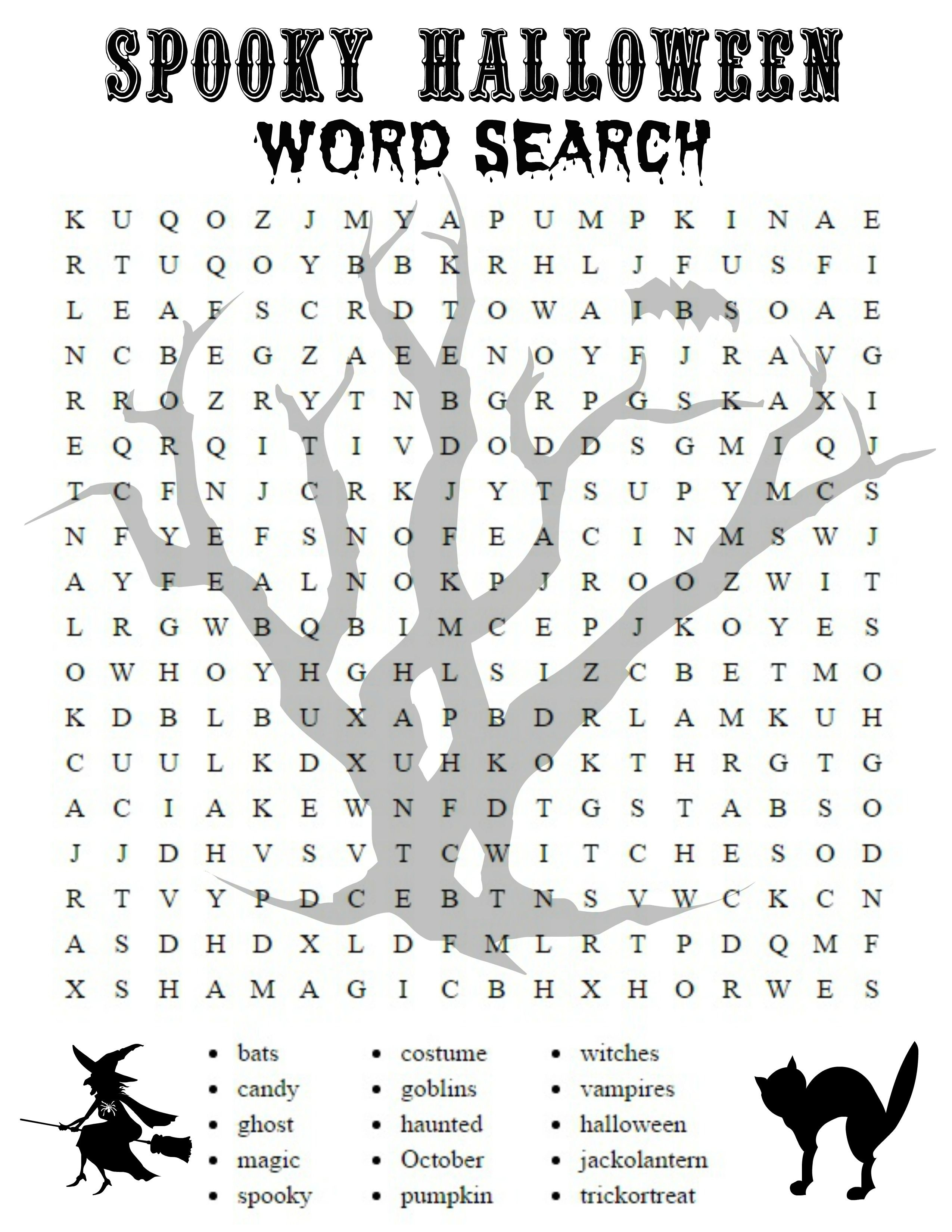 Free Printable Halloween Activities For First Graders   Halloween - Free Printable Halloween Word Search