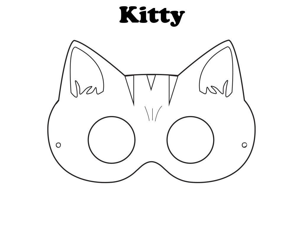 Free Printable Halloween Kitty Mask - Color It Yourself! | Awsome - Free Printable Fox Mask Template