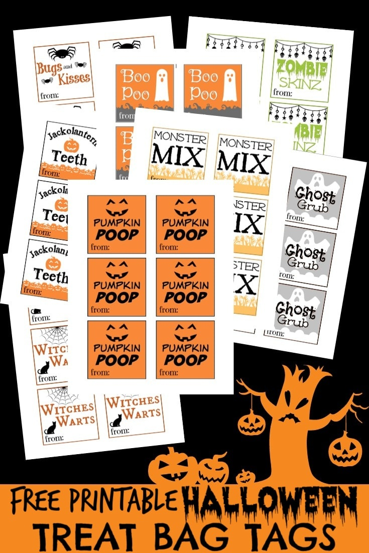 Free Printable Halloween Tags For Treat Bags - Roll A Monster Free Printable